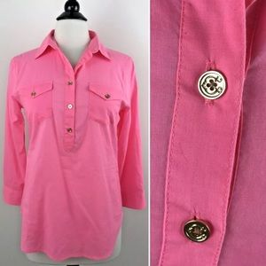 C. Wonder Popover Shirt Small Pink Gold Buttons